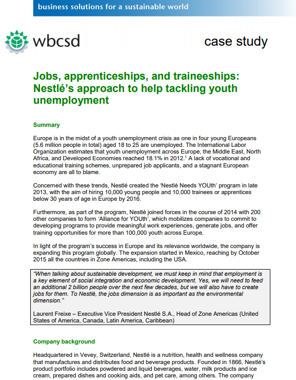 Jobs, apprenticeships, and traineeships: Nestlé's approach