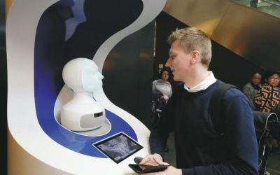 Robotic heads powered by A.I. to help passengers at a major German airport